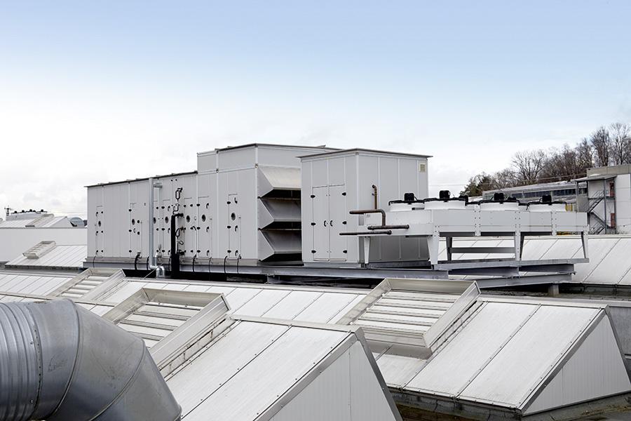 Lüftungs- und Klimasystem mit 55.000 m3/h und integrierter Wärmerückgewinnung